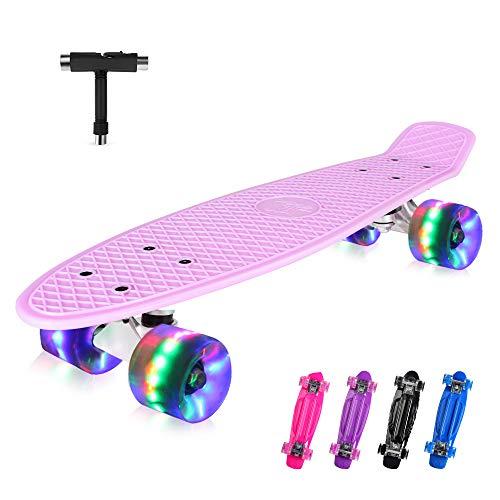 BELEEV Skateboard 22 Zoll Komplette Mini Cruiser Retro Skateboard für Kinder Jugendliche Erwachsene, LED Leuchtrollen mit All-in-One Skate T-Tool für Anfänger (Pink)