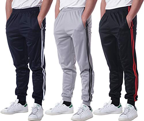 3 Pack: Mens Sweatpants Joggers Track Pants Athletic Workout Gym Apparel Training Fleece Tapered Slim Fit Tiro Soccer Casual-Set 2,S
