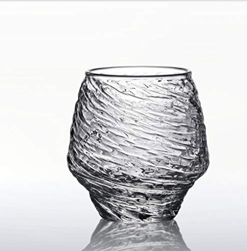 Handgearbeiteter transparenter Bierkrug aus gehämmertem Glas mit großem Fassungsvermögen, Saft, Kaffeetasse, Teetasse für den Haushalt, 390 ml