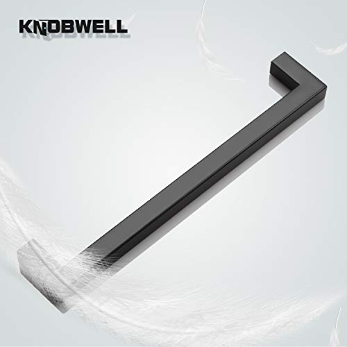 KNOBWELL 30 Pack Black Stainless Steel Cabinet Pulls Kitchen Cabinet Handles Matte Black 7-9/16