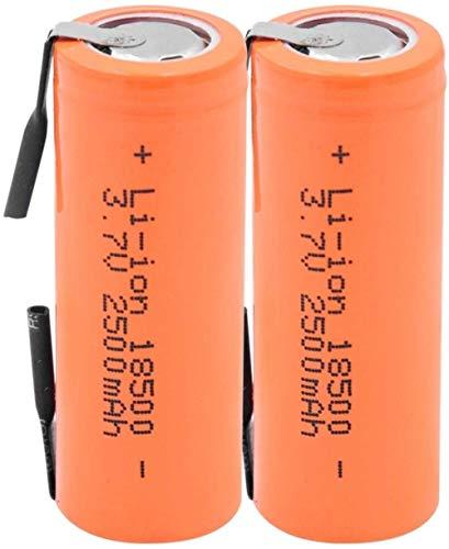 Baterías para El Hogar Batería Recargable Batería De Iones De Litio 18500 3.7V 2500Mah Celda De Iones De Litio D con 2 Pestañas De Soldadura para Linterna Led-2 Piezas