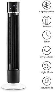 TROTEC Ventilador de Torre de diseño TVE 39 T Ventilador de Pedestal Oscilación automática de 60 ° con función de Apagado 6 Niveles de Velocidad 45 vatios Pantalla LED
