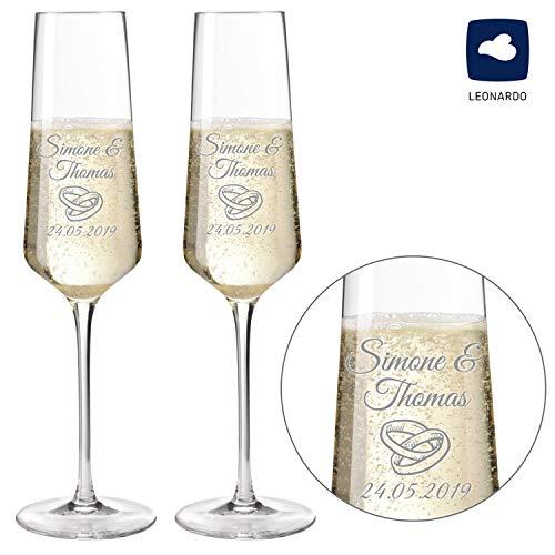 Sektgläser - Champagnergläser 2er Set Modern 220ml mit Gravur als Geschenk zur Hochzeit | Namen und Datum personalisierbar | Verschiedene Motive (Motiv Ringe mehrzeilig (2er Set))