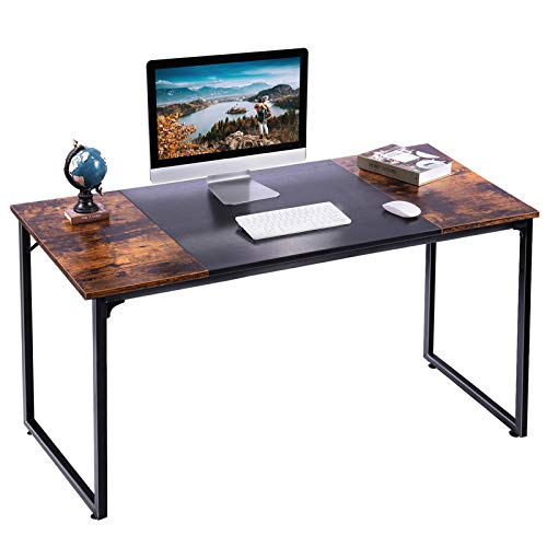 APUWE Computer Desk, Office Desk for Home Working, Modern Simple Style PC Desk Study Table Writing Workstation with Splice Board, Rustic Brown and Black, 140CM