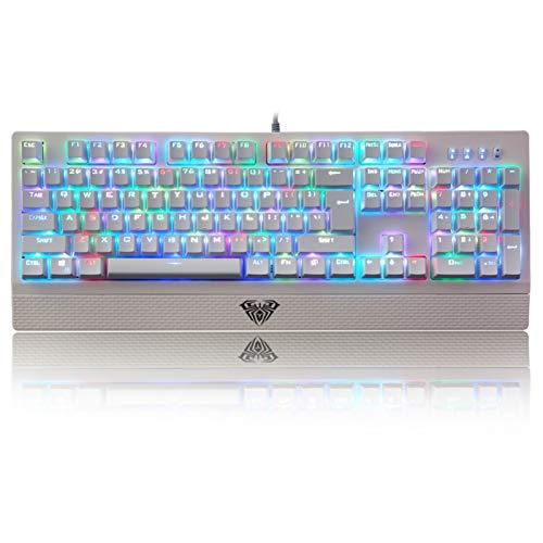 AULA S2018 RGB Tastiera Meccanica Gaming, con Retroilluminazione RGB Personalizzabile, Poggiapolsi Rimovibile, 100% Anti-Ghosting Programmabile Tastiere da Gioco per PC, US Layout QWERTY (Switch Blu)