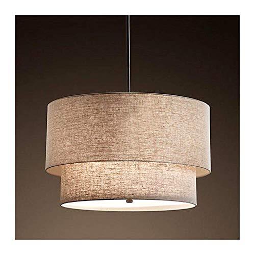 Z-GJM Vintage kroonluchter plafondlamp, creatieve dubbele stof lampenkap minimalistische hanglamp in hoogte verstelbare lamp voor woonkamer Loft Cafe hanglamp E27, grijs, 50 cm modern 50cm grijs