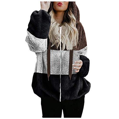 2020 Kapuzenpullover Damen Teddy-Fleece Hoodie Herbst Winter Mode Flauschig Oberteil Langarmshirt Sweatshirt Tops mit Kapuze