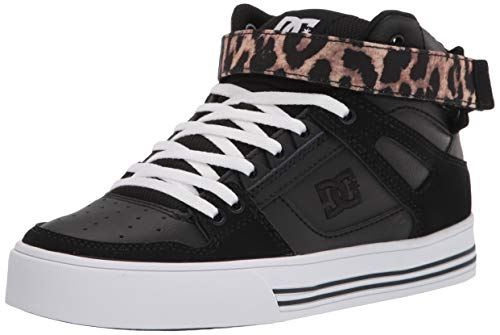 DC Women's Pure HIGH-TOP V Skate Shoe, Leopard Print, 7.5