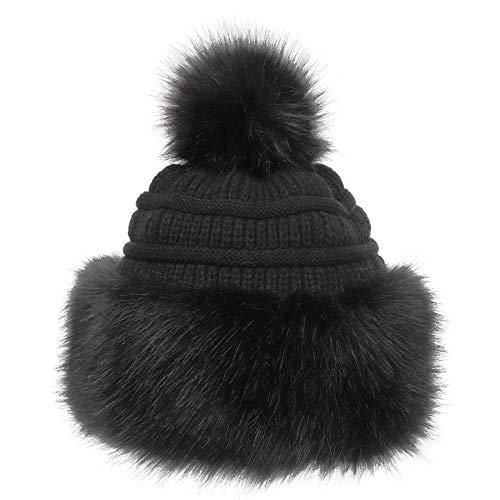 Soul Young Fellmütze Pelzmütze Damen mütze Wintermütze Faux Fuchs Pompom Pelz Warm Weich Stirnband Hut(Schwarz)
