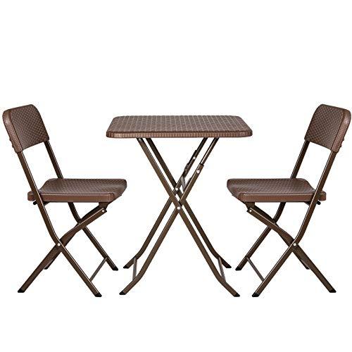 femor 3-teiliges Gartenmöbel-Set, Sitzgruppe mit 2 Stühlen 1 Tisch,Faltbares Balkonmöbel Set in Rattan-Optik, HDPE-Kunststoff verdicken,Stahlrahmenbeine für 2 Personen