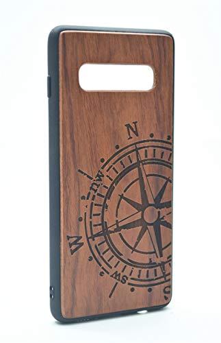 Shogpon Funda Protectora de Madera para Samsung Galaxy S10, Natural Hecha a Mano de Bambú/Madera Carcasa Case Cover para tu Smartphone - Compás de Palisandro y TPU