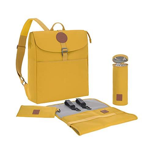 LÄSSIG Baby Wickelrucksack Wickeltasche Babytasche stylische Tasche inkl. Wickelzubehör/Backpack Adventure lemon curry