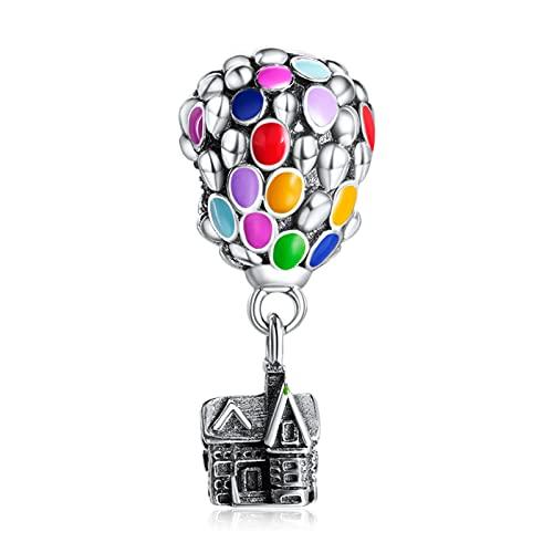 Annmors Charms Abalorios Up House & Air Balloon Colgante de Cuentas Plata de Ley 925 Compatible con Europeo Pulseras Brazaletes Collar,Charms de Festival Cumpleaños Para Mujer Niña