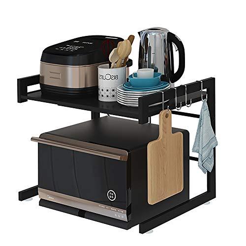 XJDZ Estante de Horno de microondas de Acero al Carbono Ampliable, Estante de Cocina de Longitud Ajustable y Estante de Almacenamiento con 3 Ganchos, 110 lbs, 2 Capas,Negro