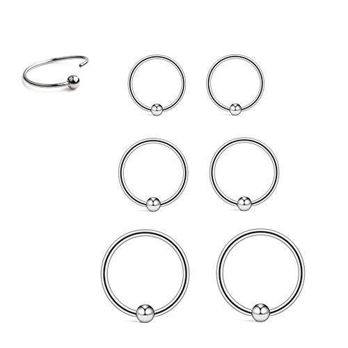 Sterling Silver Small Hoop Earrings Cartilage Earrings for Women Men Girls, 3 Pairs 22G Hypoallergenic Ball Bead Hoop Earrings Helix Tragus Lip Nose Ring Body Piercing Jewelry (8mm / 10mm / 12mm)