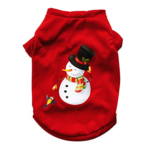 Jinpet Christmas Dog Clothes Cotton Shirt for Dogs Puppy Tee Shirts Dogs Costumes Santa Snowman Christmas Pet Clothes Vest for Small Dogs and Cats