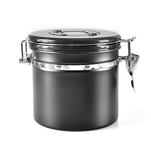WSXEDC Recipiente de almacenamiento de acero inoxidable, frasco de café sellado, para alimentos de azúcar, granos de café en polvo, té hermético, con válvula de CO2 y Rueda de seguimiento de fecha Bot