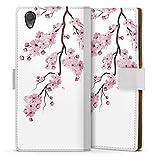 DeinDesign Etui Compatible avec Sony Xperia L1 Etui Folio Etui magnetique Fleurs de cerisiers Japon...