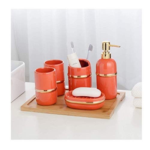 n.g. Wohnzimmer-Accessoires Bad Bad-Accessoires Set 6-teiligKeramik-Set Zahnbürstenhalter Zahnputzbecher Seifenspender Seifenschale Badanzug Küche (Color : Orange)