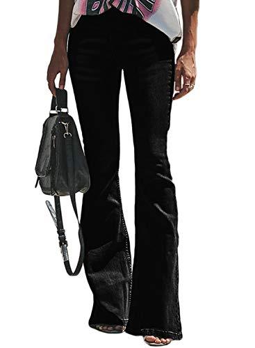 Itsmode Damen Jeanshose Weites Bein Denim Hose Destroyed Jeanshose Stretch Skinny Elegant Bootcut Schlaghose High Waist Schlagjeans, 2-schwarz, 2XL