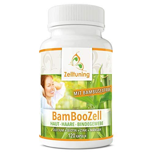 BAMBOOZELL Organisches Silizium HOCHDOSIERT Silicium hochdosiert aus Bambus Extrakt mit Biotin, Zink, Mangan. Das GUTE für Haut, Haare, Nägel und Bindegewebe. Zelltuning Nahrungsergänzungsmittel