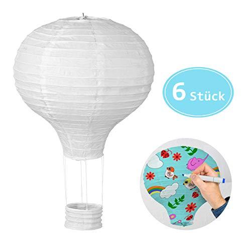 LIHAO 6x Heißluftballon Papierlampion Lampions Deko Ballon Lampenschirm Papier Dekoration Set Weiß für Hochzeit Feier Geburtstag Party Einschulungsparty Mottoparty Baby-Shower-Party (MEHRWEG)