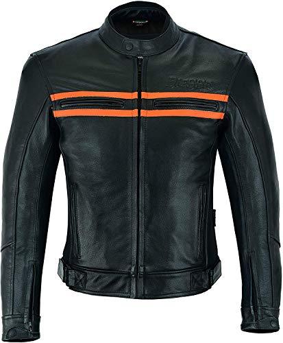 BI ESSE Giacca Moto Naked Custom Pelle Vintage Moto Harley Protezioni, Certificata (NERO / ARANCIONE, 3XL)