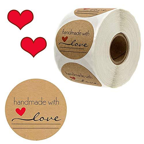 500 Stück Kraft Selbstgemacht mit Liebe Aufkleber Label Papier Abdichtung Aufkleber Etiketten Rund Selbstklebend Geschenkaufkleber Geschenksticker