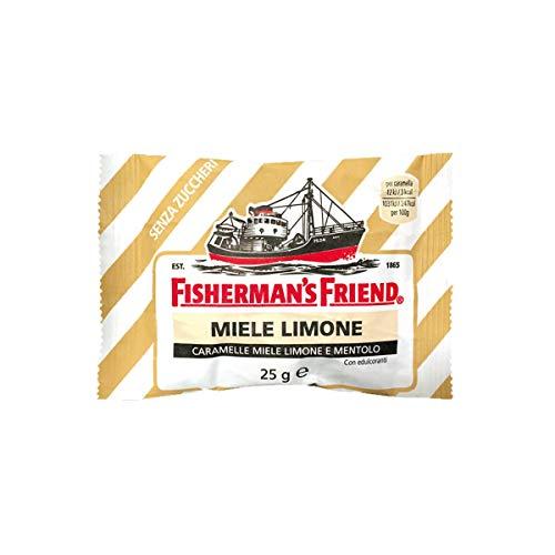 Caramelle Fisherman's Miele Limone Mentolo Senza Zuccheri - 10 buste da 25g - La forza balsamica del Mentolo e la dolcezza del Miele con la nota acidula del Limone in sole 3 calorie
