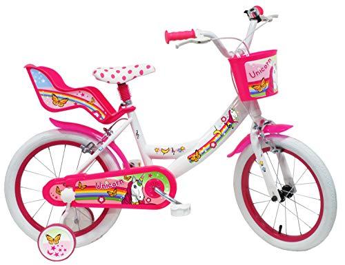 Denver Unicorn Bicicleta, Niños, Bianco-Rosa, 16