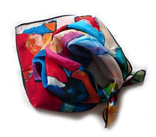 Schal, satin aus 100{b4e6d3ccf2e43585ee210ac82a38396d8963a9b9bfcdcc5c4930524598c9a395} Seide, 52 x 52 cm, pink, violett, orange, grün, schwarz, etc.