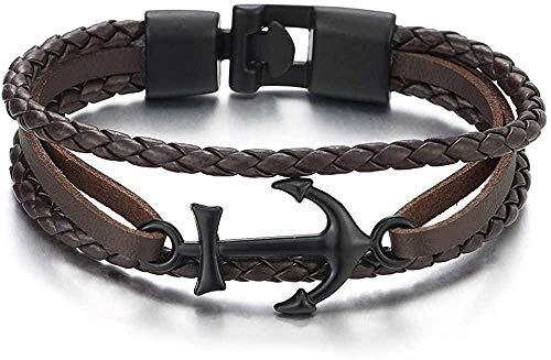 NC188 Pulsera Brazalete de Cuero Trenzado marrón con Ancla Marina Negra para Hombres Mujeres Pulsera de Tres Filas