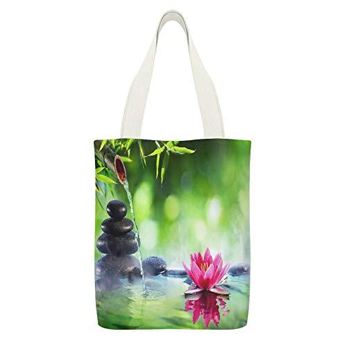 Bolsa de lona doble balneario piedras y nenúfero con fuente en Zen Garden blanco-C6 reutilizables bolsas de tela de compras ecológicas Super fuerte bolsa de hombro regalos