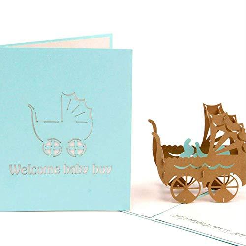 Invitación de papel de fiesta de talla hecha a mano 3d en blanco Tarjetas de felicitación Postal Bebé Niño Niña Regalo de cumpleaños Adecuado para bendiciones y saludos.10 piezas azul