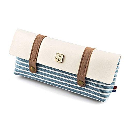TININNA Federmappe/Kosmetiktasche aus Segeltuch, mit Reißverschluss, Marineblau