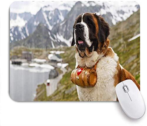 Maus Matte Maus Pad Tier Hund alpine Rettungshund Hals mit einem kleinen Fass schöne st. Bernard maßgeschneiderte Kunst Mauspad rutschfeste Gummibasis für Computer Laptop Schreibtisch Zubehör