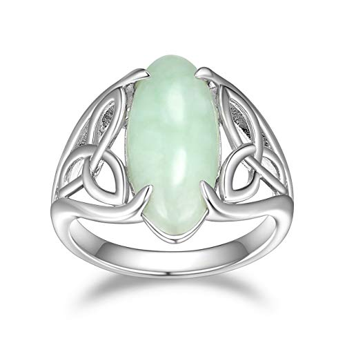 925 Sterling Silver Genuine Green Jade Celtic Trinity Knot Band Satement Ring, Size 8