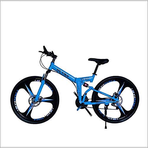 XER Mountainbike 21/24/27/30 Geschwindigkeit Stahlrahmen 26 Zoll 3-Speichen-Räder Doppelaufhebung Faltrad,Blau,30 Speed