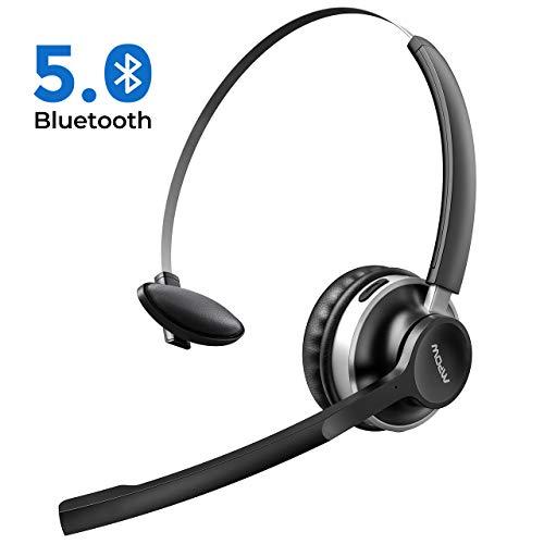Mpow HC3 Bluetooth Headset, Bluetooth 5.0, 3.5mm Wired Headset, Dual-Geräuschunterdrückung-Mikrofon Office Headsets, Freisprech Leicht Blutooth Kopfhörer für LKW-Fahrer/Callcenter/Unternehmen