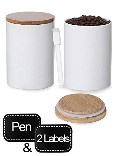 Praknu Vorratsdosen Weiß Keramik - 2er Set mit Deckel und Etiketten - 600ml - Spülmaschinenfest
