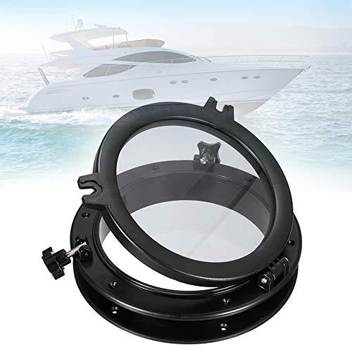 Porthole de barco, barco marítimo de repuesto de buey redondo de 21 cm, orificio para ventana para barco/yate/rV/industria autos, color negro, No nulo, negro, Tamaño libre