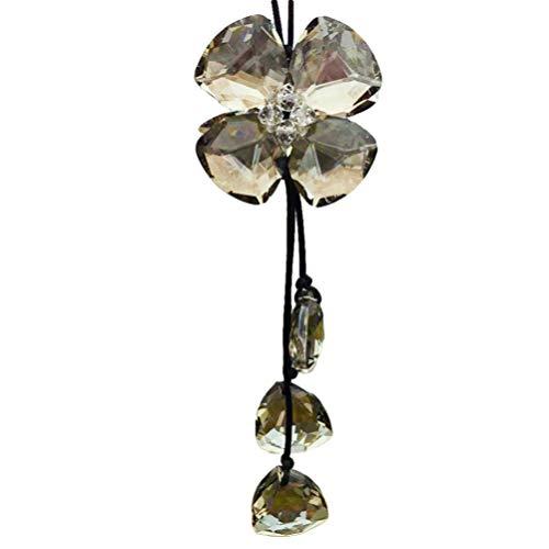 Wakauto Cristal coche colgante rhinestone cuatro hojas trébol encanto adorno auto espejo retrovisor colgante decoración interior accesorios