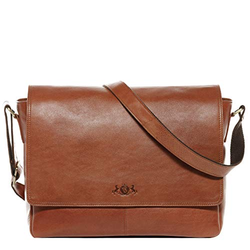 SID & VAIN Messenger Bag Spencer Large Laptop Bag Real Leather 15 inch Laptop Business Briefcase Leather Bag Women and Men Beige