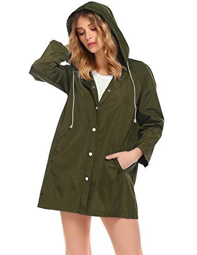 SoTeer Women Waterproof Hooded Raincoat Active Outdoor Lightweight Packable Rain Coat Jacket(Army Green-XL)