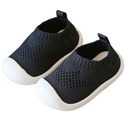 Unitysow Zapatos para Bebé Primeros Pasos Zapatos 1-4 Años Niños Zapatos Suave Suela Antideslizante Malla Transpirable Ligero Outdoor Lona Zapatillas Deportivas 6-18 Meses,Negro EU22