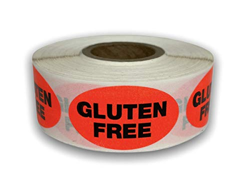 500 Labels .875' x 1.25' Oval Bright Red Gluten Free Food Retail Packaging Stickers 1 Roll