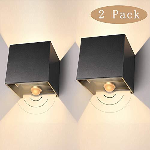 LED Wandleuchte Aussen 12W IP65 Außenwandleuchte mit Bewegungsmelder 2er Pack Aussenlampe Led 3000K Wandlampe Mit Einstellbar Abstrahlwinkel LED Wandbeleuchtung Innen/Außen