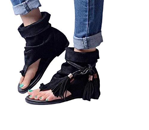 Fashion Moda Scarpe Donna Sandali Stivali Infradito Flat Estivo Estate Tacco Basso Frange Indianini Nero Moda GLY-105 (Numeric_40)