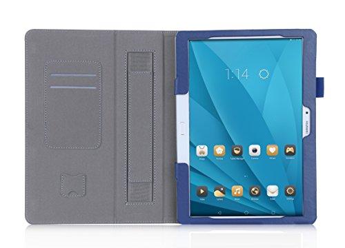 ISIN Funda para Tablet Serie Funda de Premium PU con Stand Función para Huawei Mediapad M2 10 de 10,1 pulgadas WIFI 4G LTE Android Tablet con Velcro Correa para la Mano y Ranuras para Tarjetas (Azul)