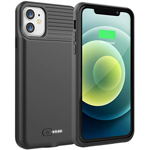 Battery Case for iPhone 11, 6000mAh Portable Charging Case for iPhone 11, Rechargeable Backup External Battery Pack Extended Battery Protective Charger Case, (6.1inch)(Black)